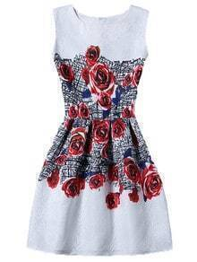 Rose Print Sleeveless A-line Jacquard Dress