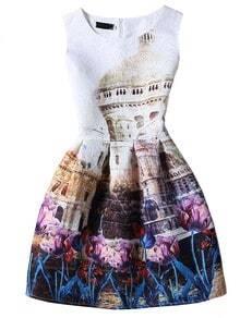 Vintage Print Sleeveless A-line Jacquard Dress