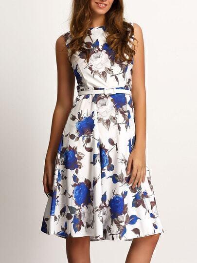 Blue White Round Neck Sleeveless Floral Dress