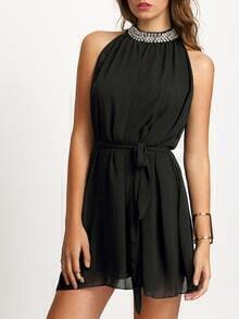 Black Bead Collar Sleeveless Tie Waist Dress