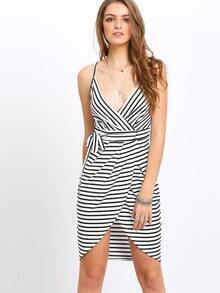 Black White Spaghetti Strap Striped Slim Dress
