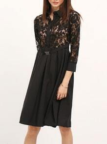 Black Lapel Sheer Lace Slim Dress