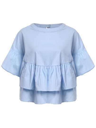 Blue Crew Neck Ruffle Loose Crop Blouse
