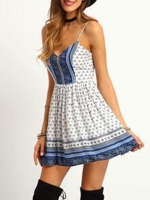 White Spaghetti Strap Crisscross Back Flare Dress