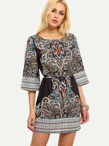 Multiclor Tribal Print Self-Tie Dress