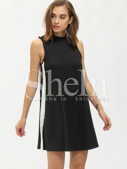 Black Mock Neck Sleeveless Shift Dress