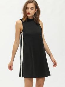 Black Mock Neck Sleeveless Shift Dress