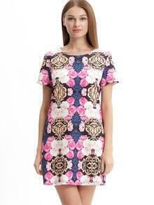 Muticolor Half Sleeve Floral Print Dress