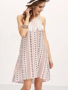 Beige Sleeveless Geomectric pattern Halter Dress