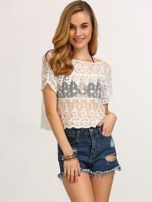 Boat Neck Lace Crop White Top