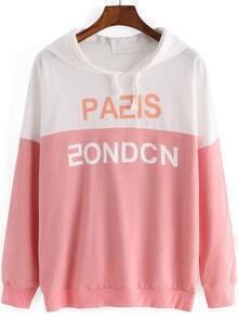 Contrast Hooded Letters Print Pink Sweatshirt