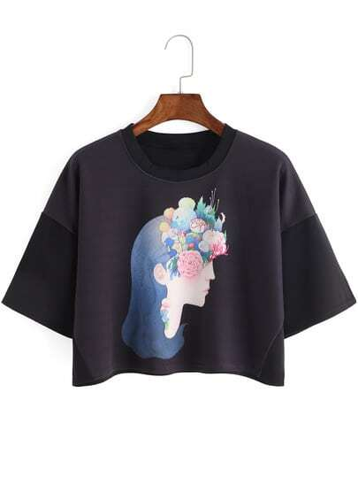 Beauty Print Crop T-shirt