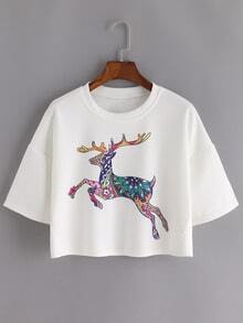 Deer Print Dropped Shoulder Crop Tee