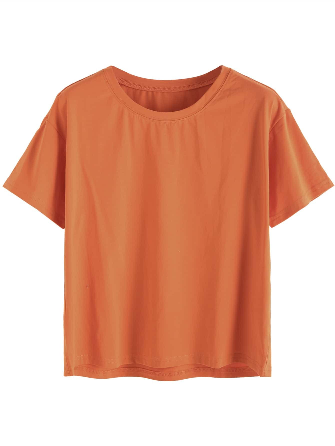 crew neck loose khaki t shirt shein sheinside