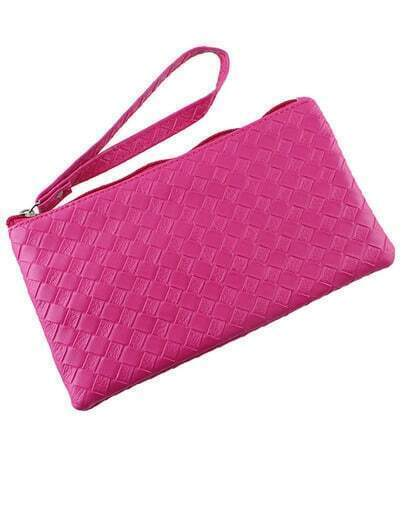 Hotpink Pu Leather Clutch
