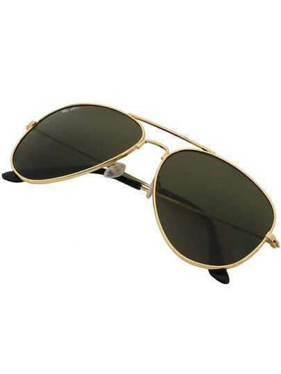 Soft Rounded Corners Golden Frame Sunglasses