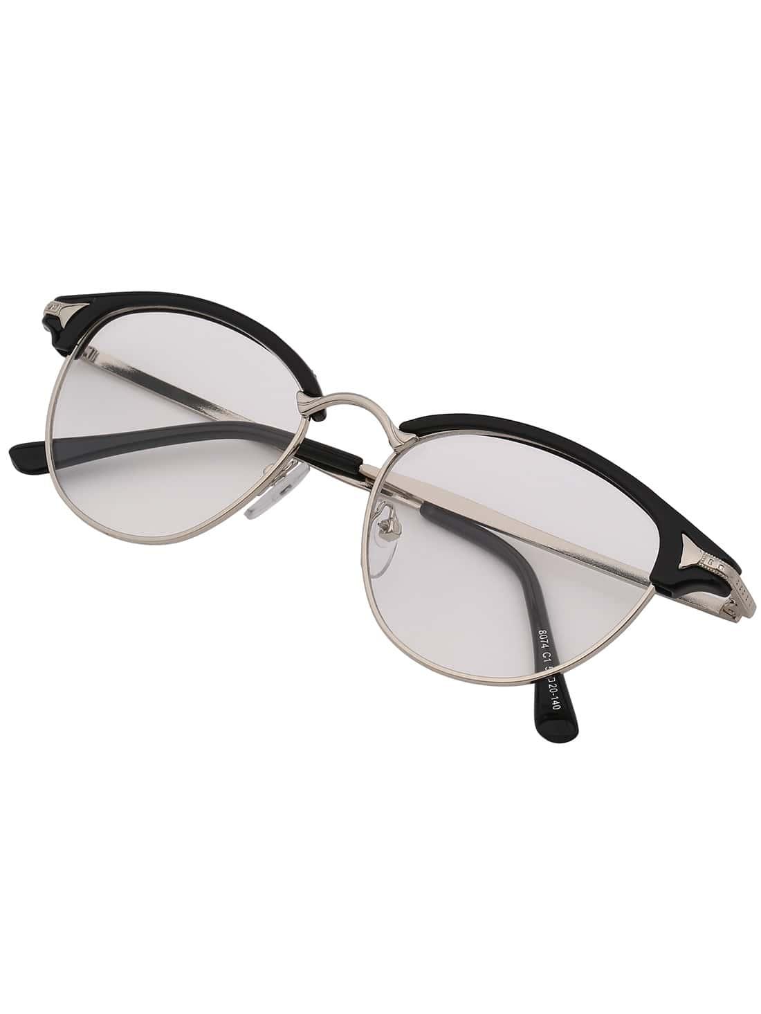 Black Half Frame Glasses : Black Half Frame Plastic Rimmed Sunglasses -SheIn(Sheinside)