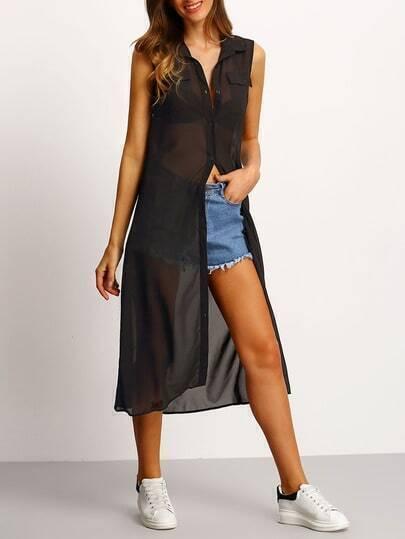 Black Sheer Chiffon Shirt Dress With Pocket