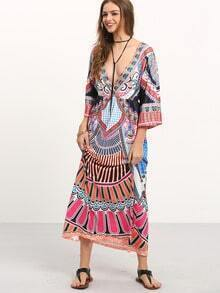 Deep V Neck Aztec Print Dress