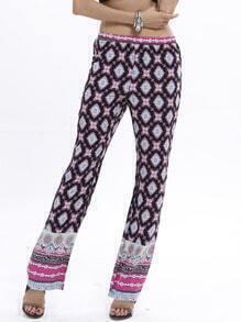Pantalon imprimé décontracté taille élastique