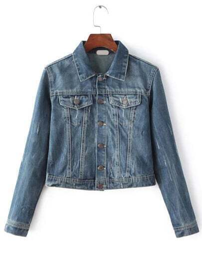 Scratch Denim Trucker Jacket With Pocket