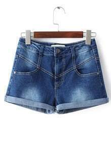 Blue Bleached Cuffed Denim Shorts