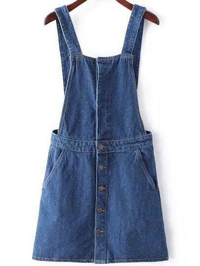 Blue Single Breasted Denim Suspender Dress