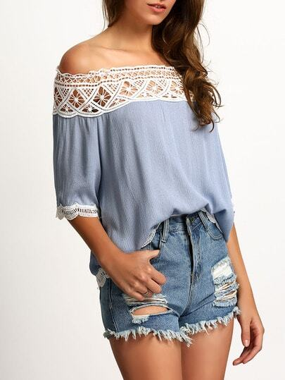 Blue Boat Neck Lace Crop Blouse