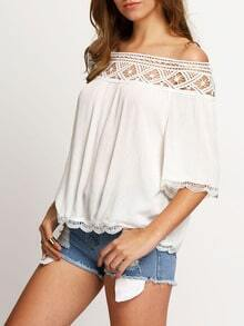 White Boat Neck Lace Crop Blouse