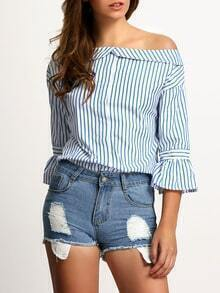 Blue Boat Neck Bell Sleeve Vertical Stripe Blouse