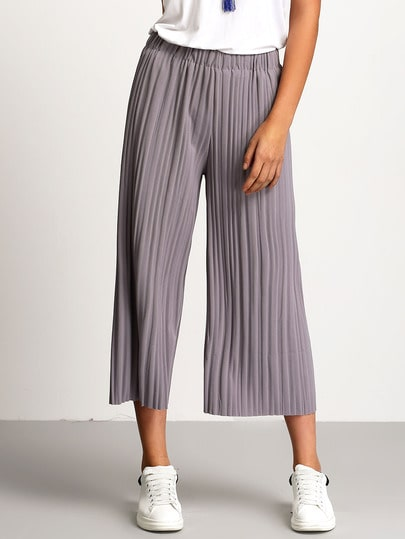 Elastic Waist Pleated Wide Leg Pant
