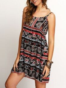Multicolor Spaghetti Strap Tribal Print Dress