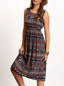 Multicolor Sleeveless Elephant direction pattern random  Print Dress