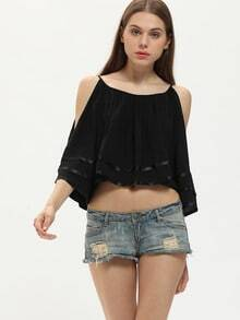 Black Cold Shoulder Pleated Ruffle Blouse