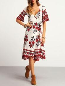 White V-neck Wrap Front Tie Waist Floral Dress