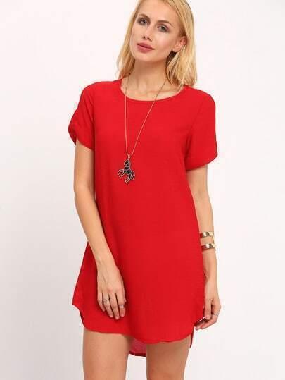 Red Crew Neck Short Sleeve Loose Dress