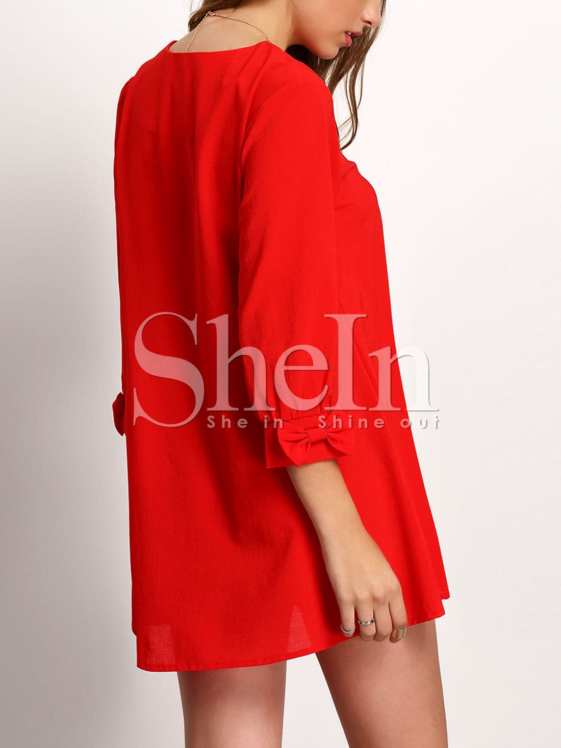 Red Crew Neck Bow cuff Casual Dress