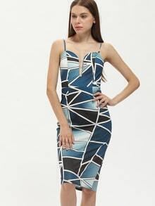 Multicolor Spaghetti Strap Patchwork Color Block Sheath Dress