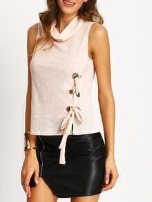 Pink Sleeveless Cowl Neck Side Lace Up Blouse