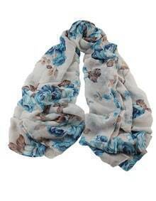 Blue Knitted Flower Voile Scarf