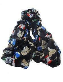 Black Animal Printed Long Scarf