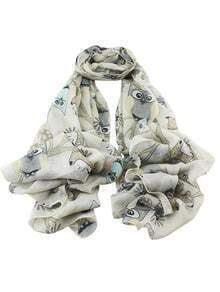 Khaki Animal Printed Long Scarf