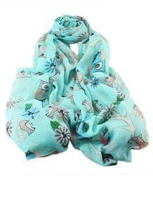 Lightblue Animal Printed Long Scarf