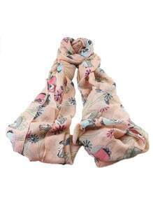 Pink Animal Printed Long Scarf