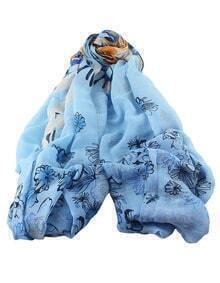 Blue Voile Flower Printed Scarf