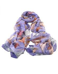 Purple Voile Boat Printed Soft Scarf