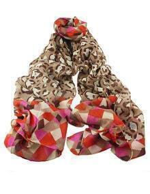 Coffee Voile Flower Printed Soft Scarf