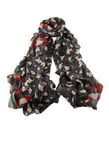 Darkgray Voile Flower Printed Soft Scarf