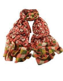 Orangered Voile Flower Printed Soft Scarf