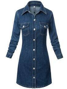 Denim Shirt Dress With Pockets